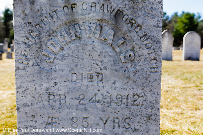 "Hermit of Crawford Notch (John Vials) gravestone at Straw Road Cemetery in Twin Mountain, New Hampshire USA. He died on April 24, 1912 and was known as ""English Jack"". He lived in a shack at the ""Gate of the Notch"" along the old Portland and Ogdensburg Railroad."