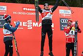 7th January 2018, Val di Fiemme, Fiemme Valley, Italy; FIS Cross Country World Cup, Tour de ski; Mens 9km F Pursuit; Martin Johnsrud Sundby (NOR), Dario Cologna (SUI), Alex Harvey (CAN)celebrate on the podium