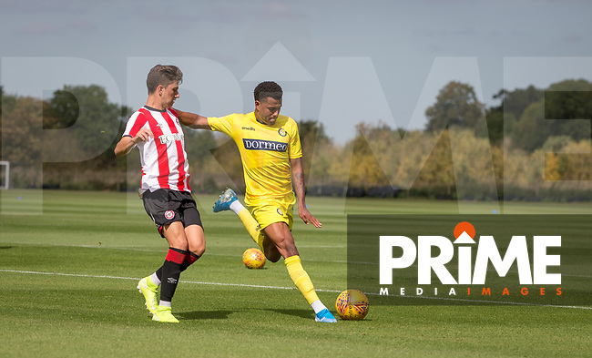 Jamie Mascoll of Wycombe Wanderers during the behind closed doors friendly between Brentford B and Wycombe Wanderers at Brentford Football Club Training Ground & Academy, 100 Jersey Road, TW5 0TP, United Kingdom on 3 September 2019. Photo by Andy Rowland.