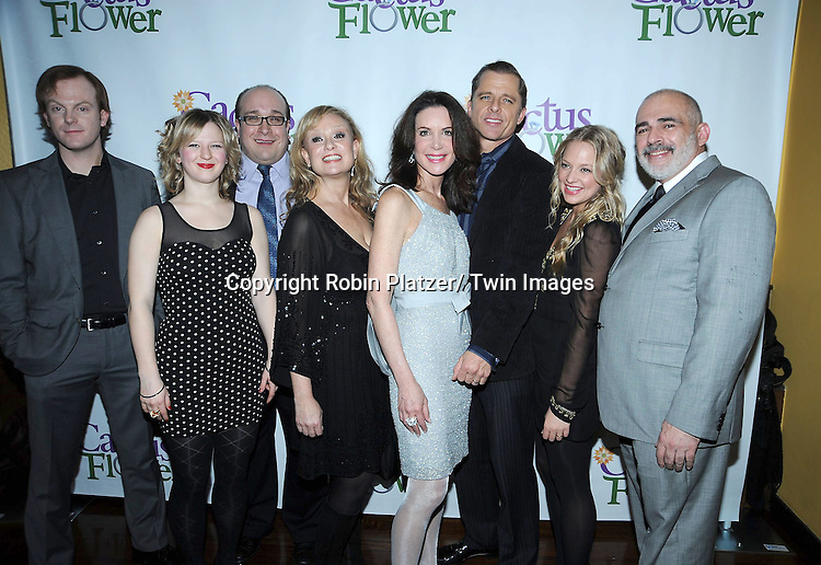 "the cast of ""Cactus Flower"" attending the Opening night party for .""Cactus Flower"" on March 10, 2011 at B Smith's Restaurant. The show stars Lois Robbins, Maxwell Caulfield and Jenni Barber."