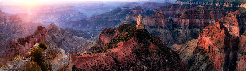 Sunrise at Point Imperial. North rim Grand Canyon National Park, Arizona