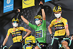 Robert Gesink (NED), Wout Van Aert (BEL) wearing the Green Jersey for his team mate race leader Primoz Roglic (SLO) who fails to start today after his injuries yesterday and Tony Martin (GER)  Team Jumbo-Visma at sign on before the start of Stage 5 of Criterium du Dauphine 2020, running 153.5km from Megeve to Megeve, France. 16th August 2020.<br /> Picture: ASO/Alex Broadway | Cyclefile<br /> All photos usage must carry mandatory copyright credit (© Cyclefile | ASO/Alex Broadway)