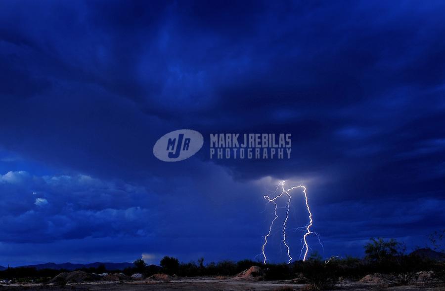 desert weather Arizona rain monsoon thunderstorm cloud clouds lightning bolt strike night