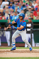 South Bend Cubs left fielder Christian Donahue (5) follows through on a swing during a game against the Kane County Cougars on July 21, 2018 at Northwestern Medicine Field in Geneva, Illinois.  South Bend defeated Kane County 4-2.  (Mike Janes/Four Seam Images)