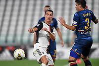 Cristiano Ronaldo of Juventus and Brayan Vera of Lecce compete for the ball during the Serie A football match between Juventus FC and US Lecce at Juventus stadium in Turin  ( Italy ), June 26th, 2020. Play resumes behind closed doors following the outbreak of the coronavirus disease. Photo Andrea Staccioli / Insidefoto