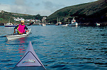 Pembrokeshire, Wales, Sea Kayaker entering Porthgain, Sea kayaking the Great Britain, the United Kingdom, Europe..