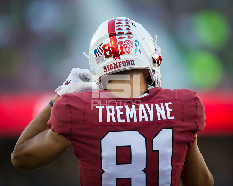 Stanford, CA - September 21, 2019: Brycen Tremayne at Stanford Stadium. The Stanford Cardinal fell to the Oregon Ducks 21-6.