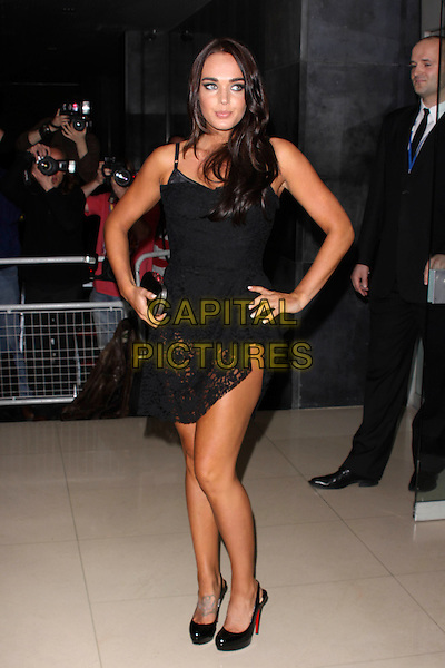TAMARA ECCLESTONE.'An Evening At Sanderson' at The Sanderson Hotel, London, England..April 27th 2010.full length black crochet dress clutch bag platform patent shoes hand on hip .CAP/AH.©Adam Houghton/Capital Pictures.