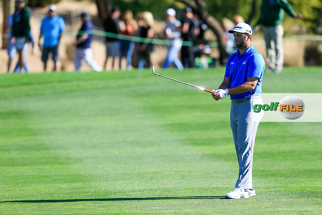 Jon Rahm (ESP) on the 3rd during the 2nd round of the Waste Management Phoenix Open, TPC Scottsdale, Scottsdale, Arisona, USA. 01/02/2019.<br /> Picture Fran Caffrey / Golffile.ie<br /> <br /> All photo usage must carry mandatory copyright credit (&copy; Golffile | Fran Caffrey)