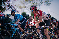 Tim Wellens (BEL/Lotto-Soudal) up the Mur de Huy<br /> <br /> 82nd Fl&egrave;che Wallonne 2018 (1.UWT)<br /> 1 Day Race: Seraing - Huy (198km)