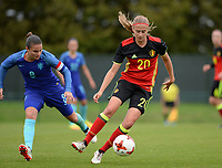 20170914 - TUBIZE ,  BELGIUM : Belgian Julie Biesmans (r) pictured with Dutch Sherida Spitse (left) during the friendly female soccer game between the Belgian Red Flames and European Champion The Netherlands , a friendly game in the preparation for the World Championship qualification round for France 2019, Thurssday 14 th September 2017 at Euro 2000 Center in Tubize , Belgium. PHOTO SPORTPIX.BE | DAVID CATRY