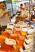Spice seller at a market. Collioure. Roussillon. France. Europe.
