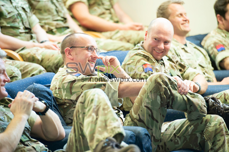 Picture by Allan McKenzie/SWpix.com - 14/06/2018 - Commercial - Rugby League - Rugby League World Cup 2021 Ambassador Unveil, Marne Barracks, Catterick, England - Some of james Simspon's old regiment listen to his Q & A.