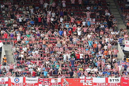 01.08.2015. Cologne, Germany. Pre Season Tournament. Colonia Cup. FC Cologne versus Stoke City.  Stoke City fans sing Delilah, lifing their team who manage to score before the end.