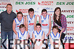 The Killorglin CYMS team that played Currow in the U14 boys final in the St Marys Basketball blitz at Castleisland Community Centre on Tuesday 30th December front row l-r: Rory O'Connor, Cormac Doyle, Conor Buckley. Back row: Vincent Croke, Tim Moskel, Roan Moriarty, John Hogan and  Roisin Casey Miss Basketball