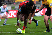 Seta Tamanivalu scores during the Super Rugby match between the Hurricanes and Crusaders at Westpac Stadium in Wellington, New Zealand on Saturday, 15 July 2017. Photo: Dave Lintott / lintottphoto.co.nz