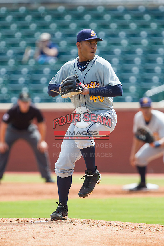 Montgomery Biscuits starting pitcher Albert Suarez (40) in action against the Chattanooga Lookouts at AT&T Field on July 23, 2014 in Chattanooga, Tennessee.  The Lookouts defeated the Biscuits 6-5. (Brian Westerholt/Four Seam Images)