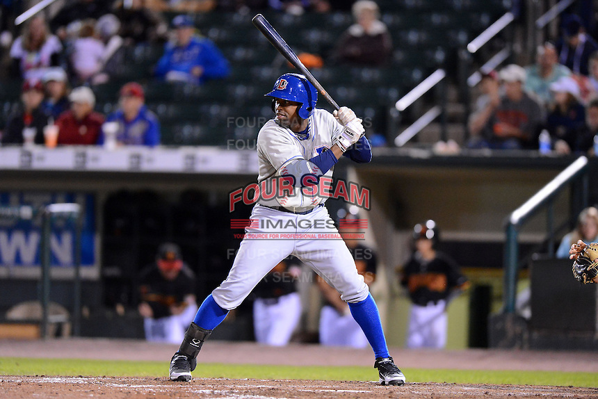 Durham Bulls first baseman Leslie Anderson #24 during a game against the Rochester Red Wings on May 17, 2013 at Frontier Field in Rochester, New York.  Rochester defeated Durham 11-6.  (Mike Janes/Four Seam Images)