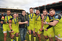 Peter Betham, Harry Thacker, Marcos Ayerza, Harry Wells, Ellis Genge, George McGuigan and Michele Rizzo of Leicester Tigers pose with the Anglo-Welsh Cup trophy. Anglo-Welsh Cup Final, between Exeter Chiefs and Leicester Tigers on March 19, 2017 at the Twickenham Stoop in London, England. Photo by: Patrick Khachfe / JMP