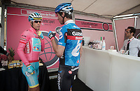 2013 Giro d'Italia.stage 11.Tarvisio - Vajont: 182km..Vincenzo Nibali (ITA) & David Millar (GBR) going for a coffee in the Gazetta Cafe before the start..