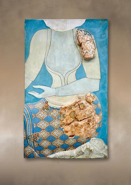 Minoan wall art fresco depicting a female figure, Neopalatial Period, C.1450 BC. Pseira, Crete. Heraklion Archaeological Museum.
