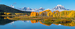 Grand Teton National Park, Wyoming:<br /> Reflection of Mount Moran and fall colored trees at the Oxbow of the Snake River