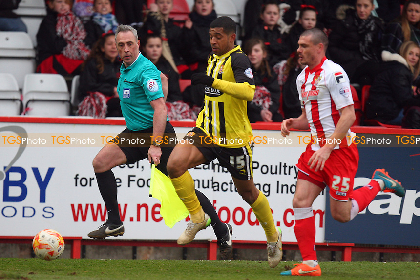 Joss Labadie of Dagenham and Redbridge and Ron Henry of Stevenage - Stevenage vs Dagenham and Redbridge - Sky Bet League Two football at he Lamex Stadium on 21/03/15 - MANDATORY CREDIT: Dave Simpson/TGSPHOTO - Self billing applies where appropriate - 0845 094 6026 - contact@tgsphoto.co.uk - NO UNPAID USE