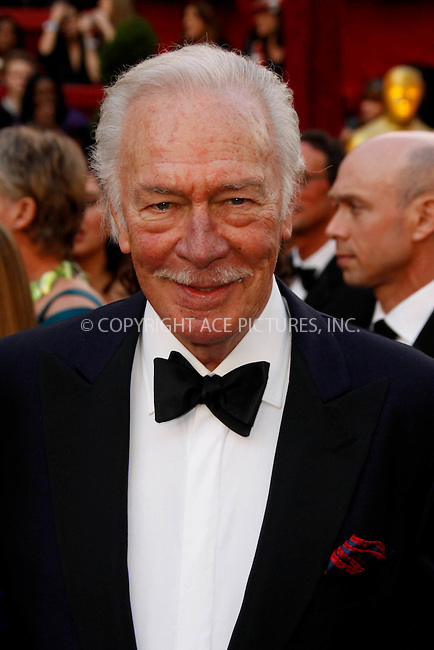 WWW.ACEPIXS.COM . . . . .  ....March 7 2010, Hollywood, CA....Actor Christopher Plummer at the 82nd Annual Academy Awards held at Kodak Theatre on March 7, 2010 in Hollywood, California.....Please byline: Z10-ACE PICTURES... . . . .  ....Ace Pictures, Inc:  ..Tel: (212) 243-8787..e-mail: info@acepixs.com..web: http://www.acepixs.com