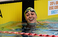 Sophie Pascoe celebrates breaking the para world record for the 200m freestyle during the Swimming New Zealand Short Course Championships,Owen G Glenn National Aquatic Centre, Auckland, New Zealand, Tuesday 3 October 2017. Photo: Simon Watts/www.bwmedia.co.nz