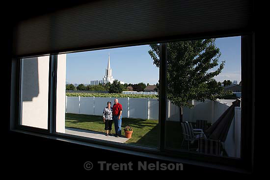 The view of the Jordan River Temple from Blair and Lynda Packer's home..Thursday July 30, 2009 in South Jordan.