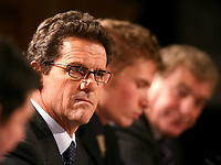 LONDON, ENGLAND - Monday, December 17, 2007: Fabio Capello, with his translator and Sir Trevor Brooking, faces the British media in his first Press Conference at the Royal Lancaster Hotel, central London. (Photo by David Rawcliffe/Propaganda)