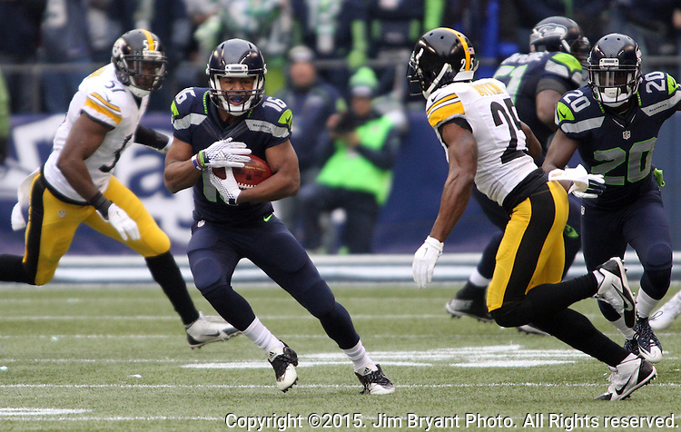 Seattle Seahawks punt return specialists Tyler Lockett (16) returns a punt against Pittsburgh Steelers at CenturyLink Field in Seattle, Washington on November 29, 2015.  The Seahawks beat the Steelers 39-30.      ©2015. Jim Bryant Photo. All Rights Reserved.