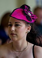 HALLANDALE BEACH, FL - JANUARY 27: A woman wears a hot pink fascinator on Pegasus World Cup Invitational Day at Gulfstream Park Race Track on January 27, 2018 in Hallandale Beach, Florida. (Photo by Scott Serio/Eclipse Sportswire/Getty Images)