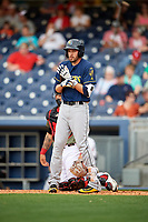 New Orleans Baby Cakes third baseman Matt Juengel (12) at bat during a game against the Nashville Sounds on April 30, 2017 at First Tennessee Park in Nashville, Tennessee.  The game was postponed due to inclement weather in the fourth inning.  (Mike Janes/Four Seam Images)