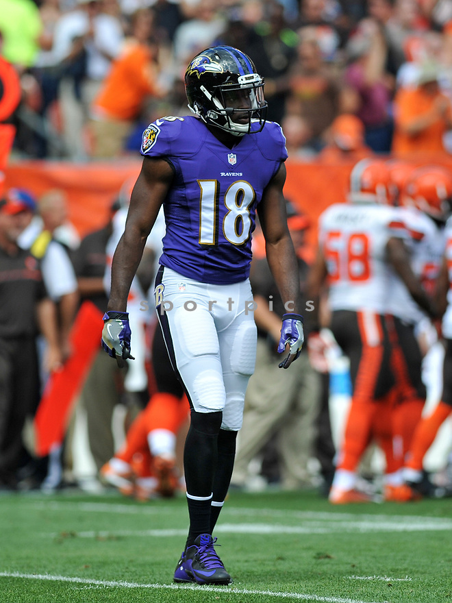 CLEVELAND, OH - JULY 18, 2016: Wide receiver Breshad Perriman #18 of the Baltimore Ravens walks off the field in the first quarter of a game against the Cleveland Browns on July 18, 2016 at FirstEnergy Stadium in Cleveland, Ohio. Baltimore won 25-20. (Photo by: 2017 Nick Cammett/Diamond Images)  *** Local Caption *** Breshad Perriman(SPORTPICS)