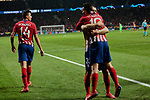 Atletico de Madrid's Juanfran Torres and Angel Martin Correa celebrate goal during UEFA Champions League match, Round of 16, 1st leg between Atletico de Madrid and Juventus at Wanda Metropolitano Stadium in Madrid, Spain. February 20, 2019. (ALTERPHOTOS/A. Perez Meca)
