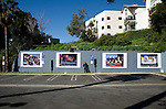 Photographer Robert Landau at installation of Rock N Roll Billboard photos on the Sunset Strip in Los Angeleles, CA