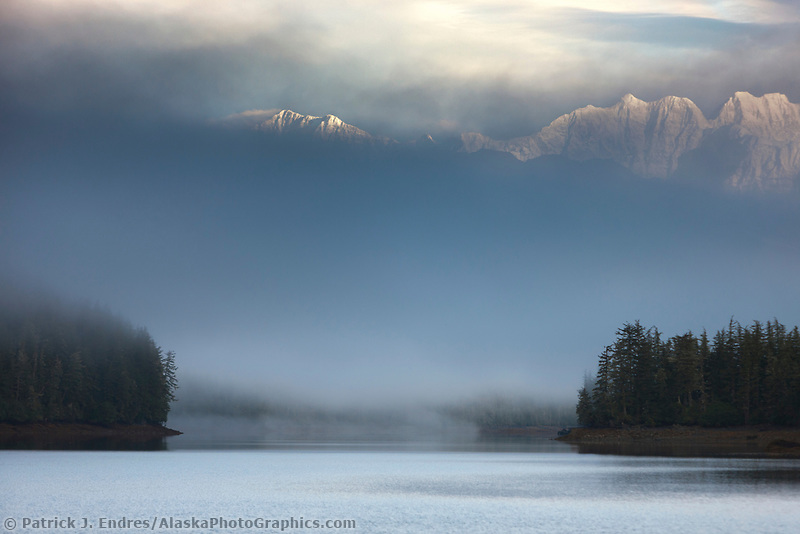 Misty morning fog over the Chugach mountains, Chugach National Forest, Ester Passage, Prince William Sound, southcentral, Alaska.