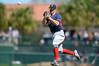 Boston Red Sox second baseman Brock Holt (26) during a spring training game against the Baltimore Orioles on March 8, 2014 at Ed Smith Stadium in Sarasota, Florida.  Baltimore defeated Boston 7-3.  (Mike Janes/Four Seam Images)