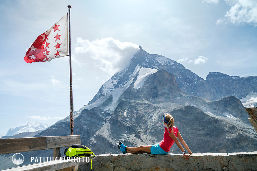 The Chamonix to Zermatt Glacier Haute Route. In late August 2017, we ran the tour in mountain running gear, running shoes, and all the necessary glacier travel and crevasse rescue gear. Relaxing at the Schönbiel Hut and looking at the Matterhorn.