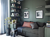 The study is furnished with a Calvin Klein Home sofa topped with a vintage Moroccan cushion