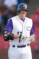 Seth Loman #27 of the Winston-Salem Dash is all smiles as he returns to the dugout following his first inning home run at Wake Forest Baseball Stadium August 30, 2009 in Winston-Salem, North Carolina. (Photo by Brian Westerholt / Four Seam Images)