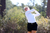 CHAPEL HILL, NC - OCTOBER 11: Mathilde Claisse of the University of South Carolina tees off at UNC Finley Golf Course on October 11, 2019 in Chapel Hill, North Carolina.
