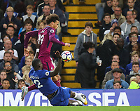 Antonio Rudiger of Chelsea slides in to tackle Leroy Sane of Manchester City <br /> Calcio Chelsea - Manchester City Premier League <br /> Foto Phcimages/Panoramic/insidefoto