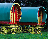 County Clare, Ireland                <br /> Colorfully restored tinker's caravan wagons at Bunratty Folk Park