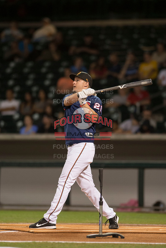 Chris Paul (21), of the Surprise Saguaros during the Arizona Fall League Bowman Hitting Challenge on October 21, 2017 at Sloan Park in Mesa, Arizona. Chris Paul, of the Minnesota Twins organization, won the American League trophy while Tomas Nido (not shown) won the National League trophy. (Zachary Lucy/Four Seam Images)