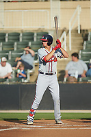 Griffin Benson (23) of the Rome Braves at bat against the Kannapolis Intimidators at Kannapolis Intimidators Stadium on July 2, 2019 in Kannapolis, North Carolina.  The Intimidators walked-off the Braves 5-4. (Brian Westerholt/Four Seam Images)