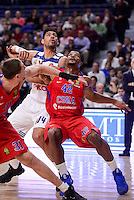Real Madrid's Gustavo Ayon and CSKA Moscow Kyle Hines during Turkish Airlines Euroleague match between Real Madrid and CSKA Moscow at Wizink Center in Madrid, Spain. January 06, 2017. (ALTERPHOTOS/BorjaB.Hojas)