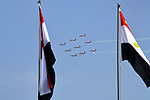 Egyptian air force acrobatic jets performing aerial maneuvers during President Abdel-Fattah al-Sisi's swearing-in ceremony for a second four-year term in office, above the capital Cairo, June 2, 2018. Photo by Egyptian President Office