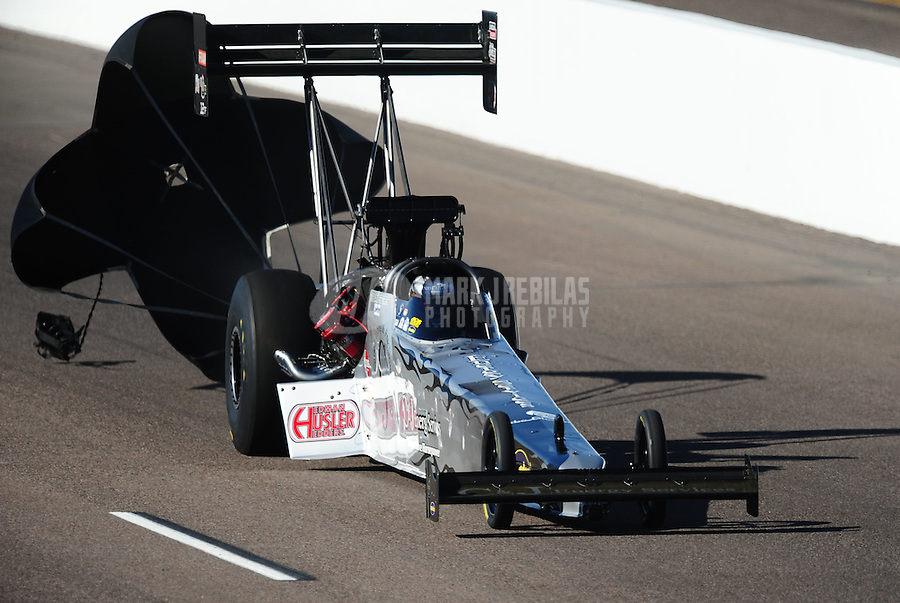 Oct. 15, 2011; Chandler, AZ, USA; NHRA top fuel dragster driver Bob Vandergriff Jr during qualifying at the Arizona Nationals at Firebird International Raceway. Mandatory Credit: Mark J. Rebilas-